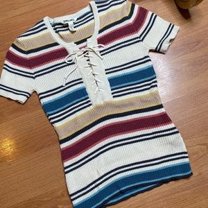 Billabong Ribbed Tee With Laces (Multicolor)